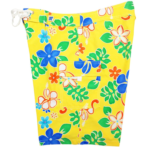 """Spring Fling"" Womens Board Shorts - Regular Rise / 10.5"" Inseam (Yellow, Red, Turquoise, or Purple) *SALE* - Board Shorts World - 1"