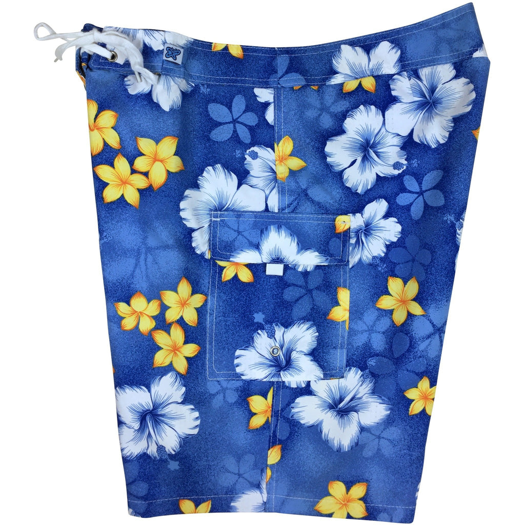 """Spin Cycle"" Print Womens Board Shorts - Regular Rise / 10.5"" Inseam (Blue)"