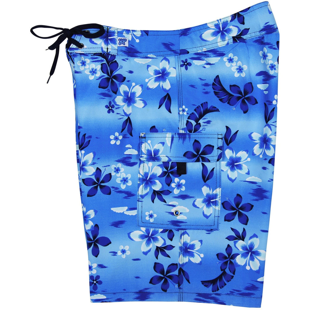 """Soul Salvation"" Womens Board Shorts - Regular Rise / 10.5"" Inseam (Blue) - Board Shorts World"
