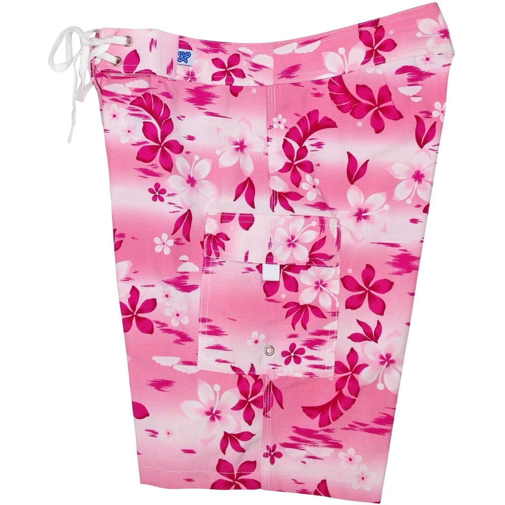 """Soul Salvation"" Womens Board Shorts - Regular Rise / 10.5"" Inseam (Pink) - Board Shorts World"