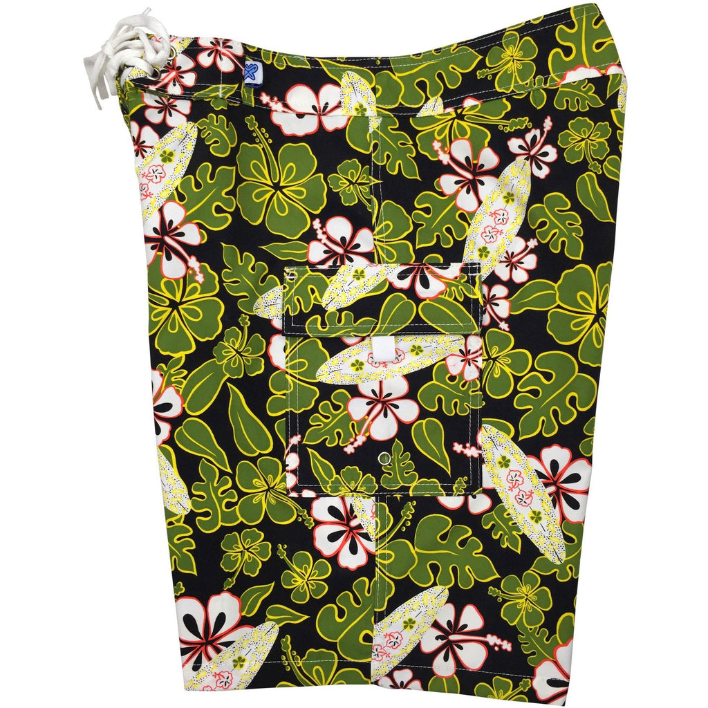 """Stick Figures"" Womens Board Shorts - Regular Rise / 10.5"" Inseam (Black+Green) - Board Shorts World"