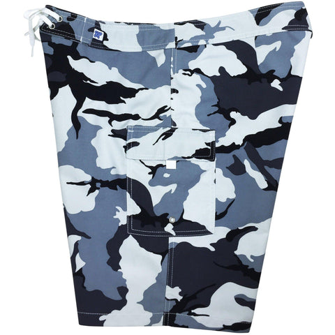 """Stealth Fanatic"" Camo Print Womens Board Shorts - Regular Rise / 10.5"" Inseam (Charcoal)"
