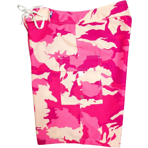 """Stealth Fanatic"" Camo Print Womens Board Shorts - Regular Rise / 10.5"" Inseam (Pink or Pink+Brown) *SALE* - Board Shorts World - 1"