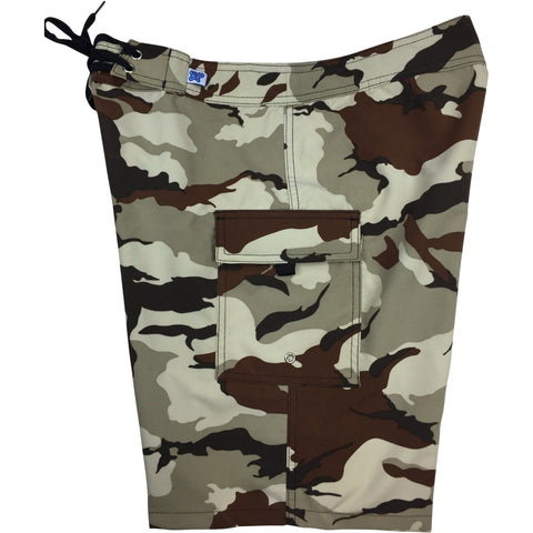 """Stealth Fanatic"" Camo Print Womens Board Shorts - Regular Rise / 10.5"" Inseam (Sand+Brown)"