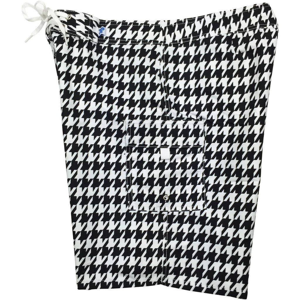 """Sweet Tooth"" Houndstooth Womens Board Shorts - Regular Rise / 10.5"" Inseam (Black/White) - Board Shorts World"