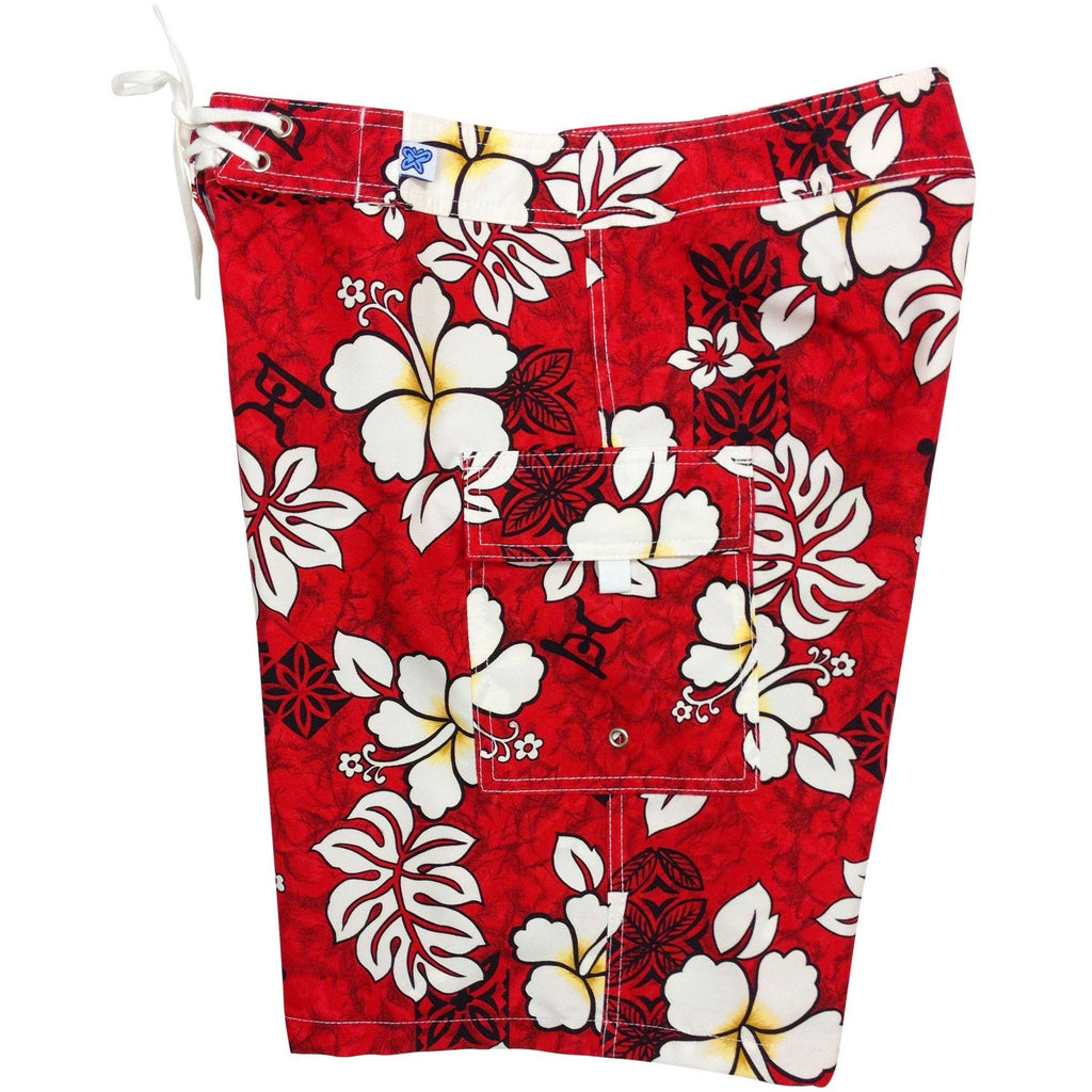 """Tribal Council ""Womens Board Shorts - Regular Rise / 10.5"" Inseam (Red) - Board Shorts World"