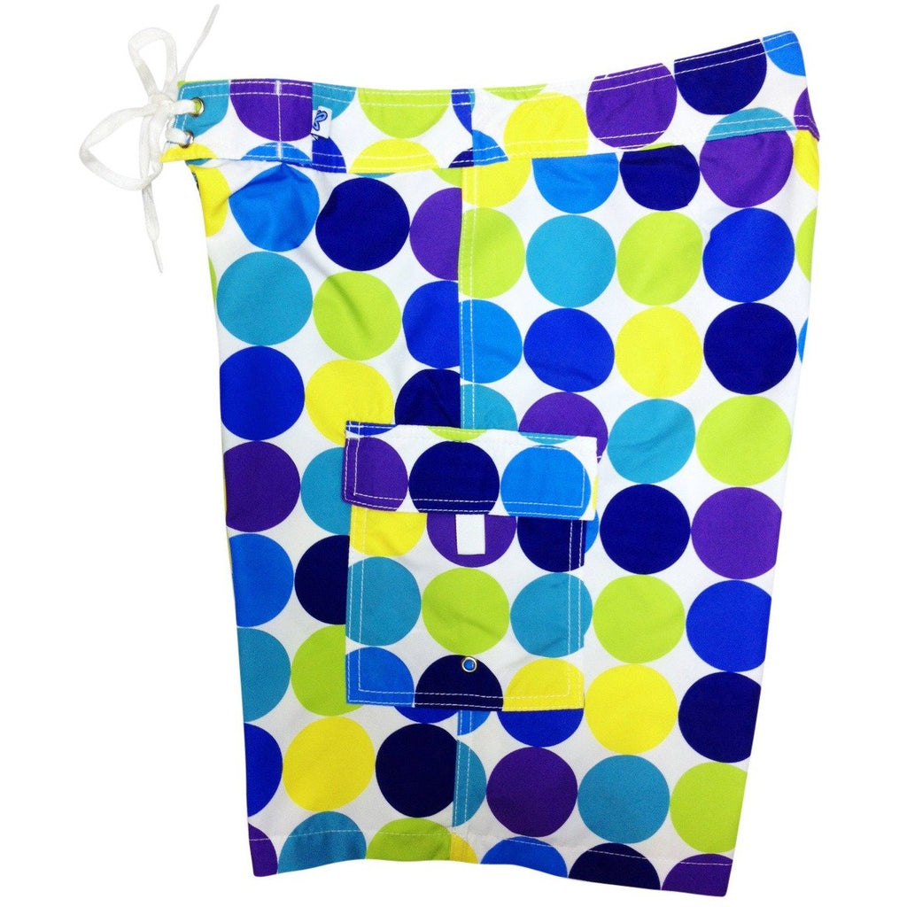 """Twister"" Womens Board Shorts - Regular Rise / 10.5"" Inseam (Blue, Black or Citrus) - Board Shorts World - 1"