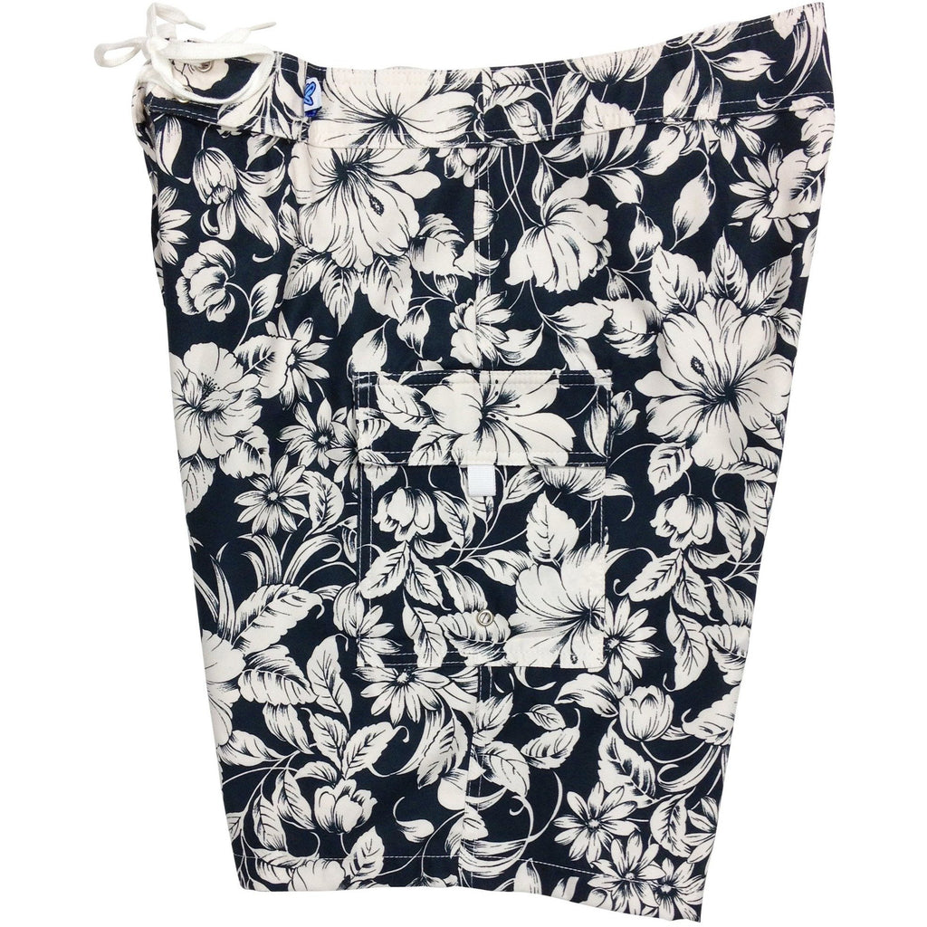 """Vintage"" (Black) Womens Board Shorts - Regular Rise / 10.5"" Inseam - Board Shorts World"