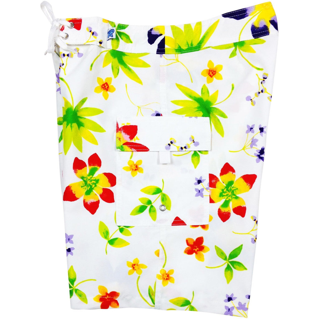 """Watercolors"" Womens Board Shorts - Regular Rise / 10.5"" Inseam (White or Pink) - Board Shorts World - 1"