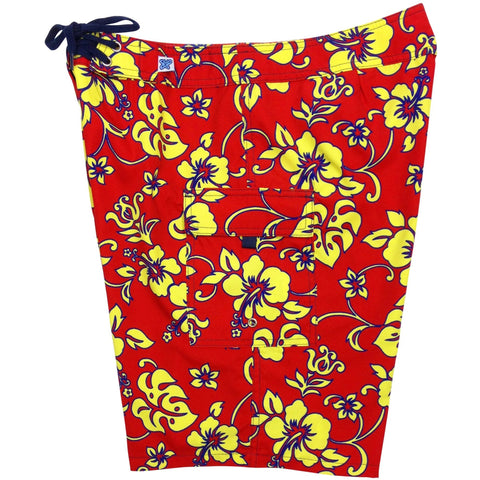 """Warming Trend"" Womens Board Shorts - Regular Rise / 10.5"" Inseam (Red+Yellow, Navy+Turq, Navy+Yellow, or Red+Blue) - Board Shorts World - 1"