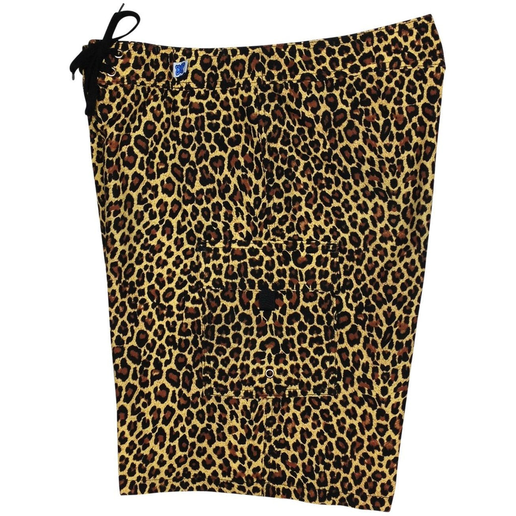 """Wild Weekend"" Cheetah Print Womens Board Shorts - Regular Rise / 10.5"" Inseam (Brown) - Board Shorts World"