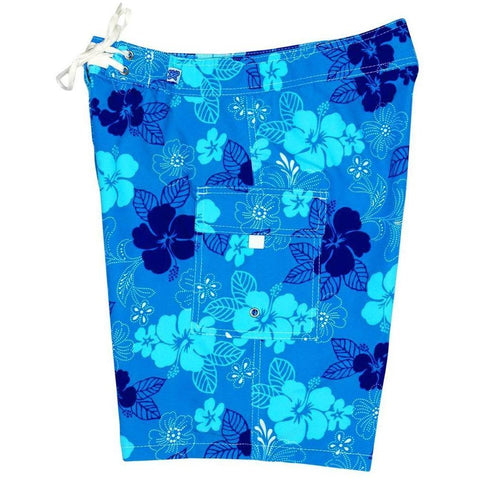 """Dew Drops"" Womens Board Shorts - Regular Rise / 10.5"" Inseam (Blue) *SALE*"