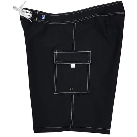 """""A Solid Color"" BEST SELLING Women's Board Shorts - Regular Rise / 10.5"" Inseam (Black+White Stitching) - Board Shorts World"