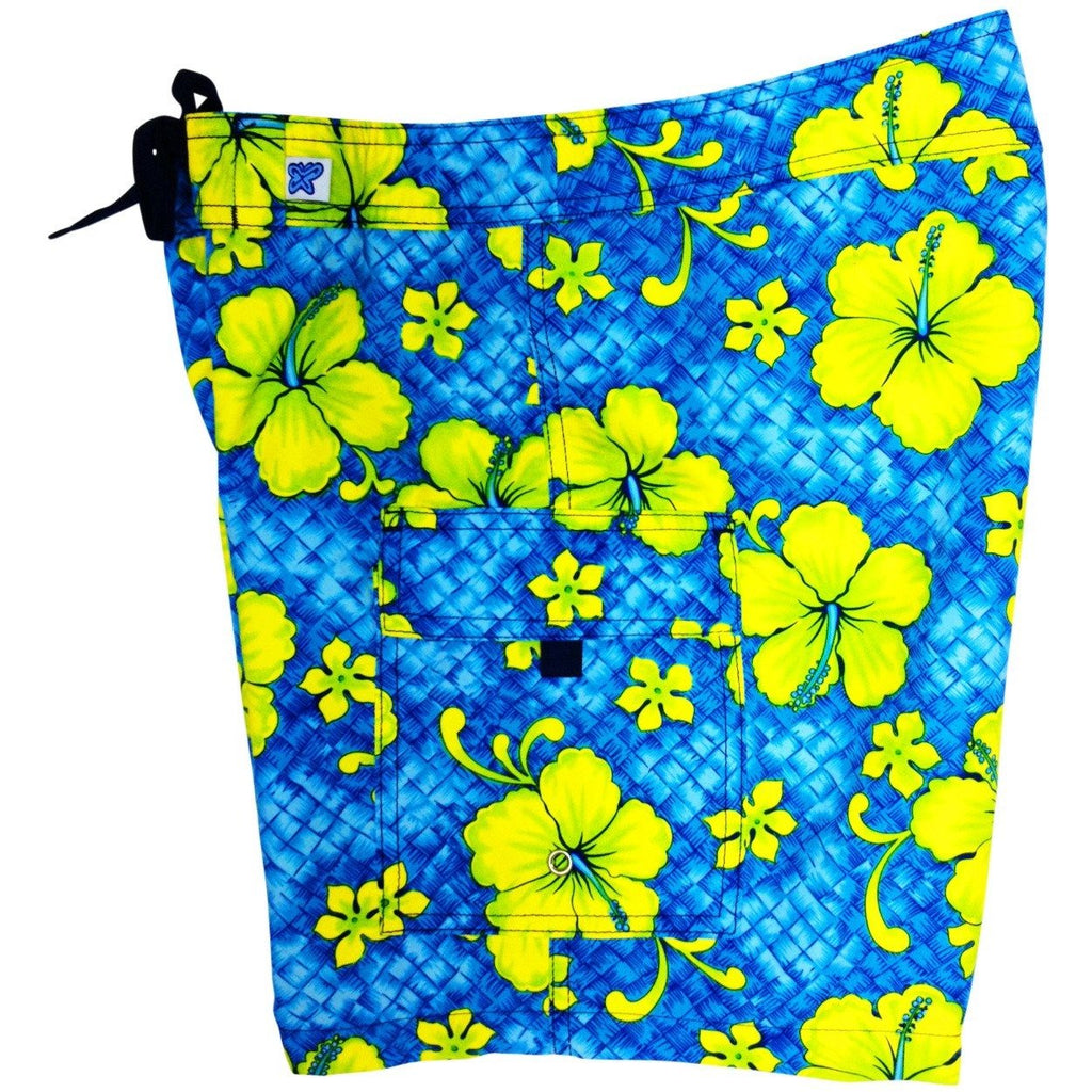 """Basketweave"" Womens Board Shorts - Regular Rise / 7"" Inseam (Turquoise, Charcoal, or Royal) - Board Shorts World - 1"