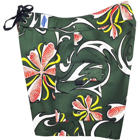 """Chicken Feet"" Womens Board Shorts - Regular Rise / 7"" Inseam (Olive) **SALE** - Board Shorts World"