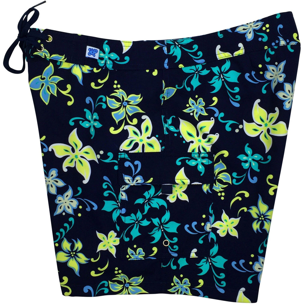 """Chick Flick"" Womens Board Shorts - Regular Rise / 7"" Inseam (Midnight Navy or Pink) *SALE* - Board Shorts World - 1"