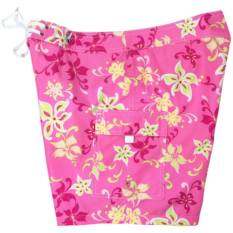 """Chick Flick"" Womens Plus Size Board Shorts - Regular Rise / 7"" Inseam (Pink) *SALE*"