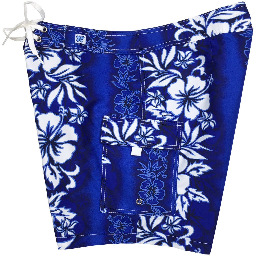 """Conga Line"" Womens Board Shorts - Regular Rise / 7"" Inseam (Blue)"