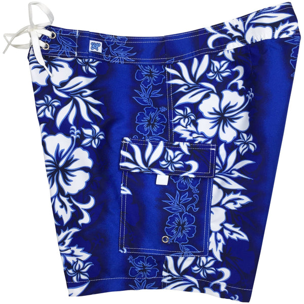 """Conga Line"" Womens Board Shorts - Regular Rise / 7"" Inseam (Blue or Red) - Board Shorts World - 1"