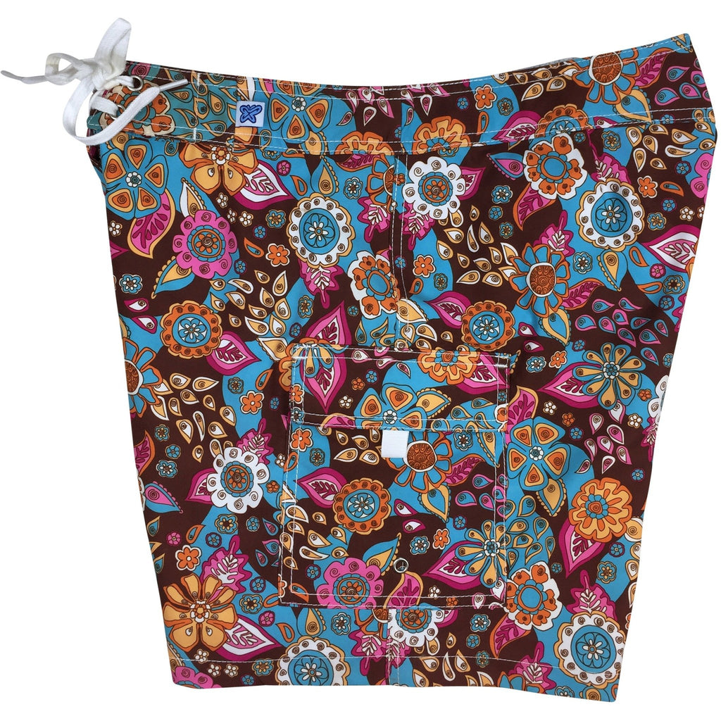 """Carnival"" Womens Board Shorts - Regular Rise / 7"" Inseam (Brown)"