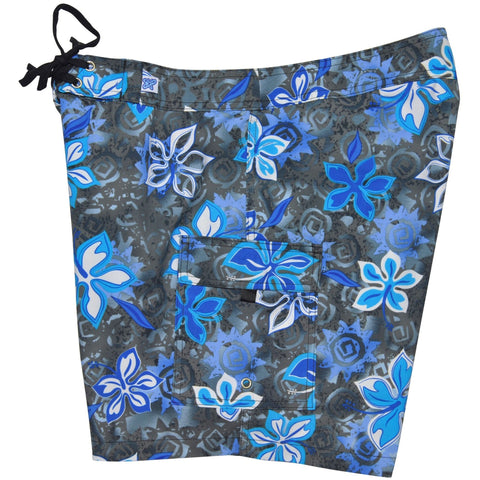 """Desert Bloom"" Womens Board Shorts - Regular Rise / 7"" Inseam (Charcoal + Blue) - Board Shorts World"