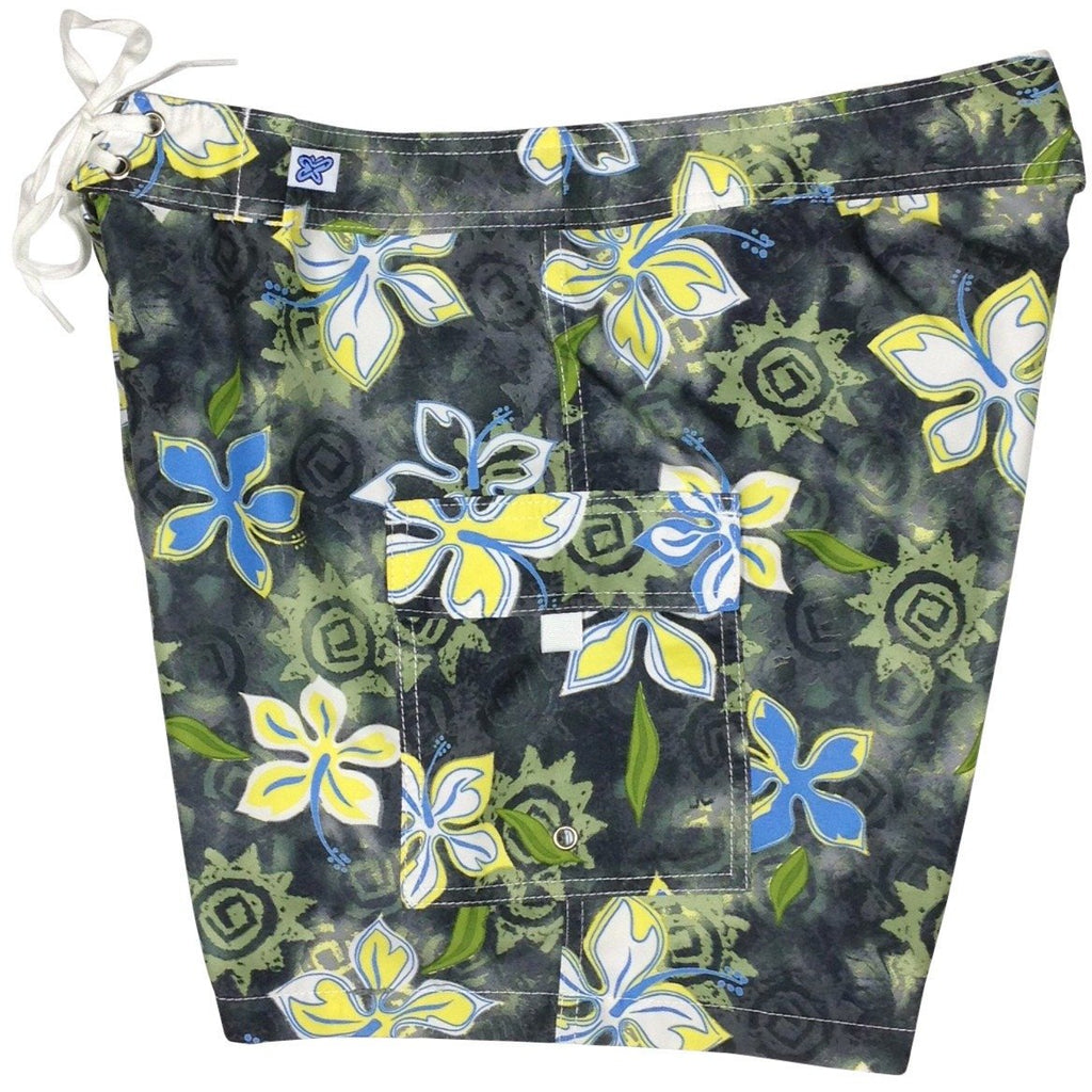 """Desert Bloom""  Womens Board Shorts - Regular Rise / 7"" Inseam (Charcoal + Yellow or Graphite) - Board Shorts World - 1"