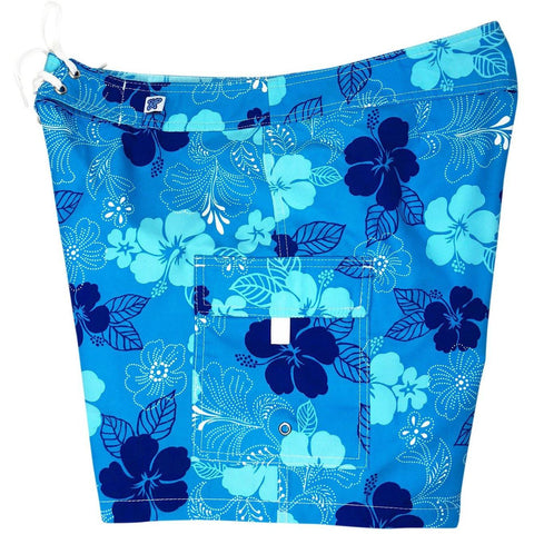 """Dew Drops"" Womens Board Shorts - Regular Rise / 7"" Inseam (Blue) *SALE* - Board Shorts World"