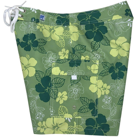 """Dew Drops"" Womens Board Shorts - Regular Rise / 7"" Inseam (Green)"