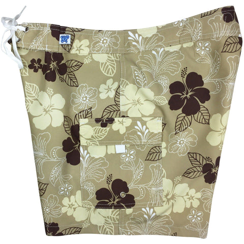 """Dew Drops"" Womens Board Shorts - Regular Rise / 7"" Inseam (Sand) *SALE*"