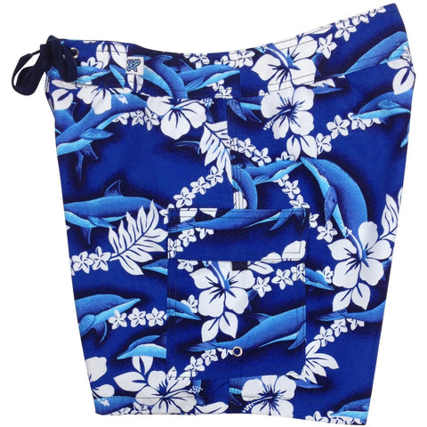 """Fins"" Womens Board Shorts - Regular Rise / 7"" Inseam (Blue) - Board Shorts World"