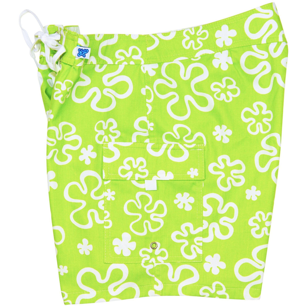 """Flower Power"" 100% Cotton Canvas Womens Board Shorts - Regular Rise / 7"" Inseam (Green or Blue) - Board Shorts World - 1"