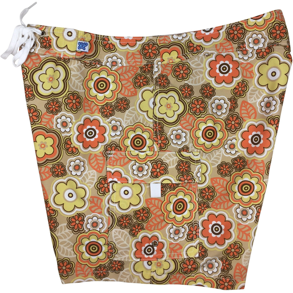 """Groovapalooza"" Womens Board Shorts - Regular Rise / 7"" Inseam (Sand) **SALE**"