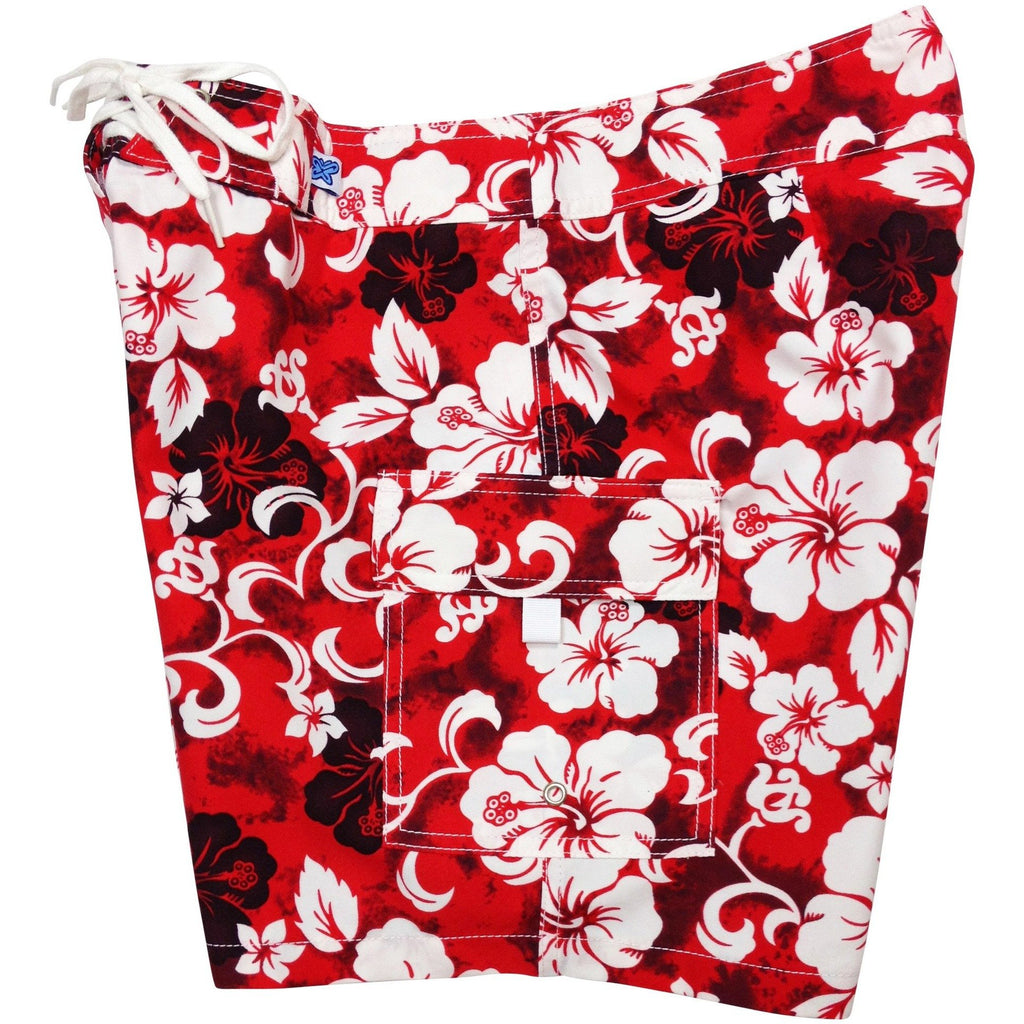 """Jungle Boogie"" Womens Board Shorts - Regular Rise / 7"" Inseam (Red, Orange or Blue) - Board Shorts World - 1"