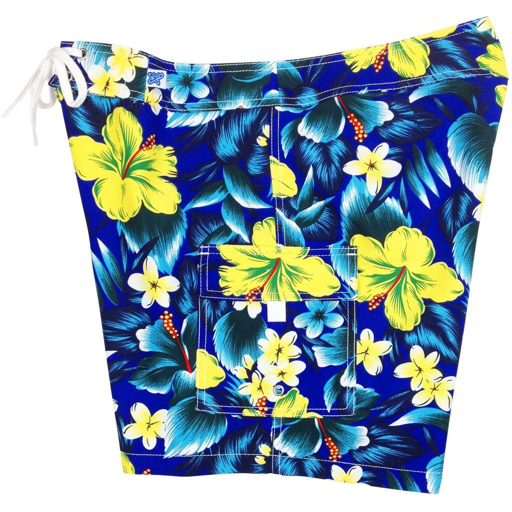 "Fixed (Non Elastic) Waist Womens Board Shorts ""Jungle Juice"" (Royal) * CUSTOM *"