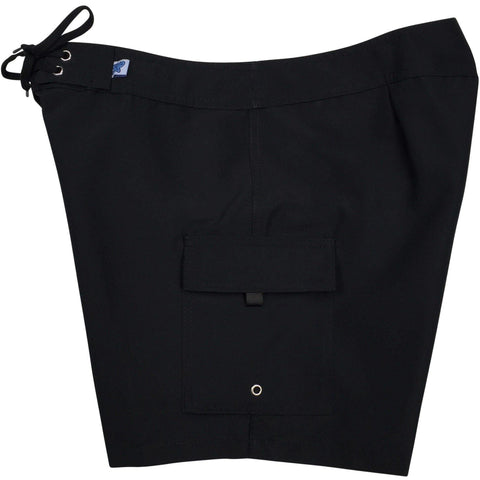 """A Solid Color"" Women's Board Shorts - Regular Rise / 7"" Inseam (Black + Black Stitching) - Board Shorts World"