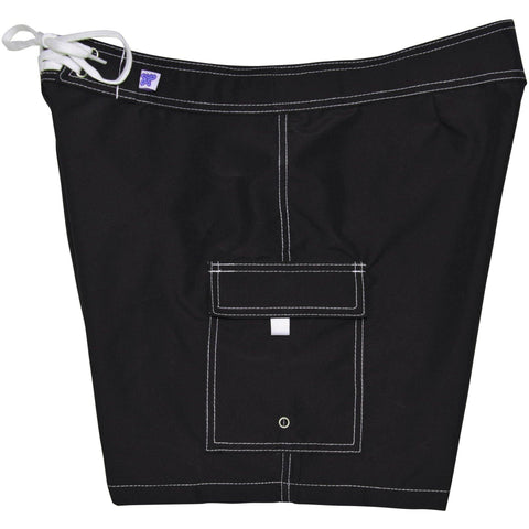 """A Solid Color"" Women's Board Shorts - Regular Rise / 7"" Inseam (Black + White Stitching) - Board Shorts World"