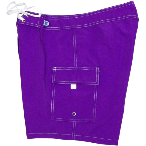 """A Solid Color"" Women's Board Shorts - Regular Rise / 7"" Inseam (Purple)"