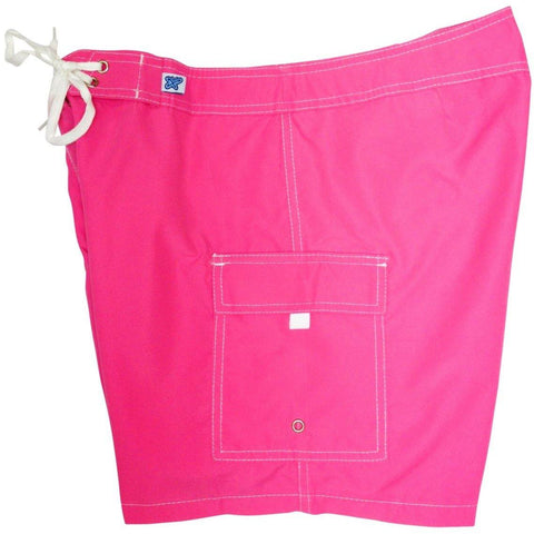 """A Solid Color"" Women's Board Shorts - Regular Rise / 7"" Inseam (Hot Pink)"