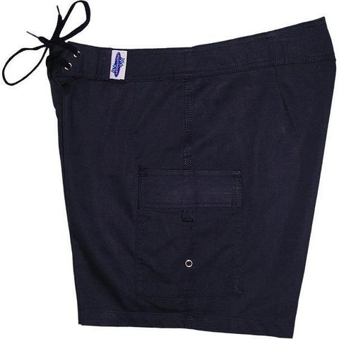 """A Solid Color"" BEST SELLING Women's Board Shorts - Regular Rise / 7"" Inseam (Navy) - Board Shorts World"