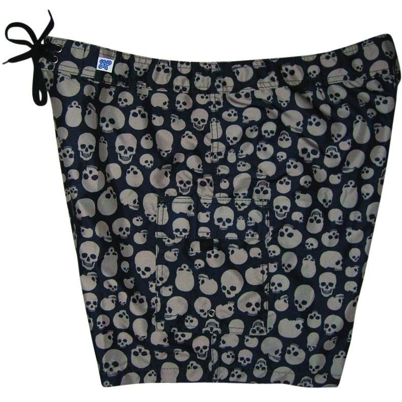 "Fixed (Non Elastic) Waist Womens Board Shorts ""Live to Ride"" Skulls (Black+Charcoal) * CUSTOM *"