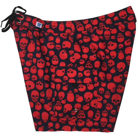 """Live to Ride"" Skulls Print Womens Board Shorts - Regular Rise / 7"" Inseam (Black+Red)"