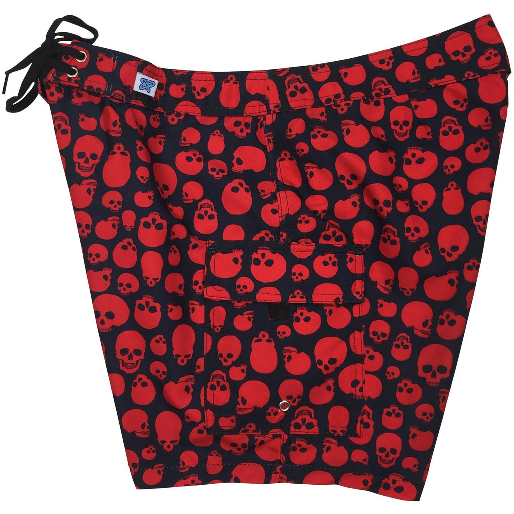 "Fixed (Non Elastic) Waist Womens Board Shorts ""Live to Ride"" Skulls (Black+Red) * CUSTOM *"
