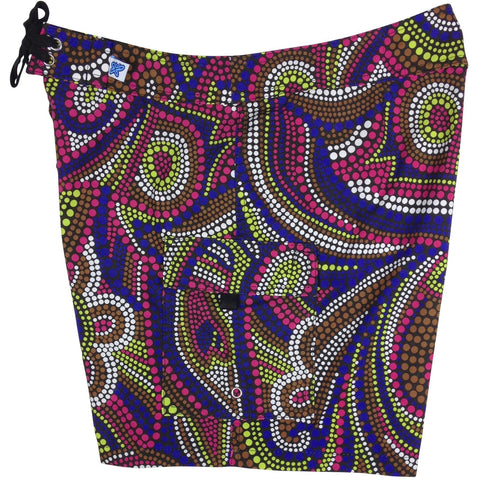 """Mardi Gras"" Womens Board Shorts - Regular Rise / 7"" Inseam (Black or Light Blue) - Board Shorts World - 1"