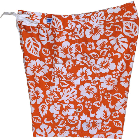 "**NEW** ""Pure Hibiscus Too"" Womens Board Shorts - Regular Rise / 7"" Inseam (Orange) - Board Shorts World"