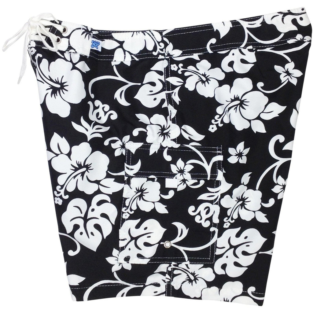 """Pure Hibiscus"" Womens Board Shorts - Regular Rise / 7"" Inseam (Black+White, Purple+White, or Navy+White) - Board Shorts World - 1"