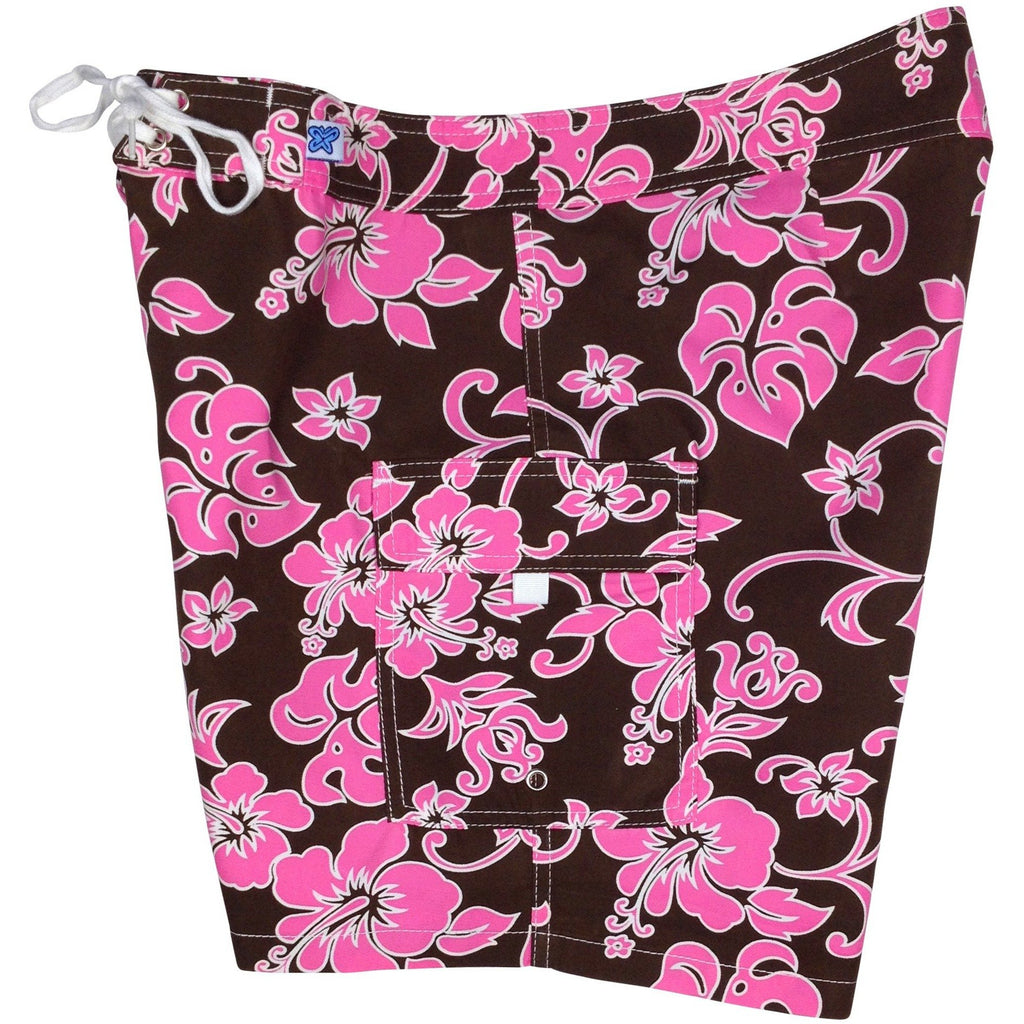 """Pure Hibiscus"" Womens Board Shorts - Regular Rise / 7"" Inseam (Brown+Pink or Brown+Blue) - Board Shorts World - 1"
