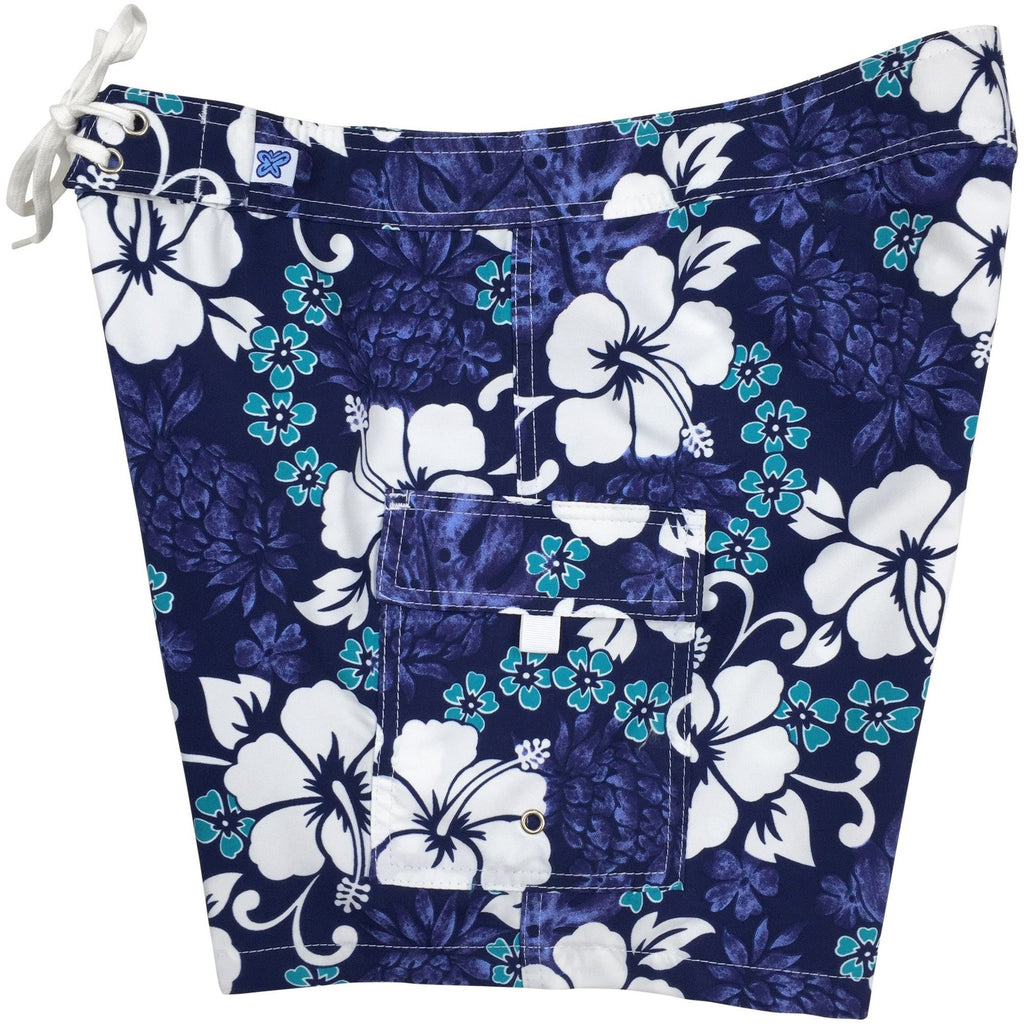 """Pina Colada"" Womens Board Shorts - Regular Rise / 7"" Inseam (Indigo, Fire, or Blue+Yellow) - Board Shorts World - 1"