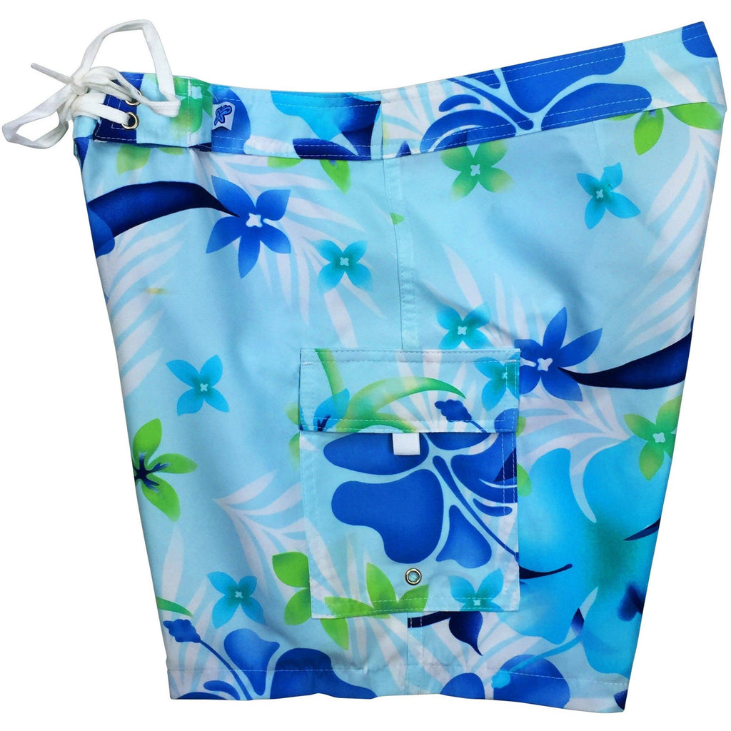 """Primal Paradise"" Womens Board Shorts - Regular Rise / 7"" Inseam (Blue or Pink) - Board Shorts World - 1"