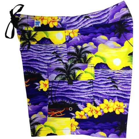 """Picture This"" Womens Board Shorts - Regular Rise / 7"" Inseam (Purple) - Board Shorts World"