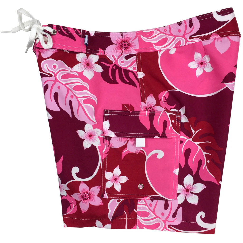 """Puzzled"" Womens Board Shorts - Regular Rise / 7"" Inseam (Pink or Periwinkle) - Board Shorts World - 1"
